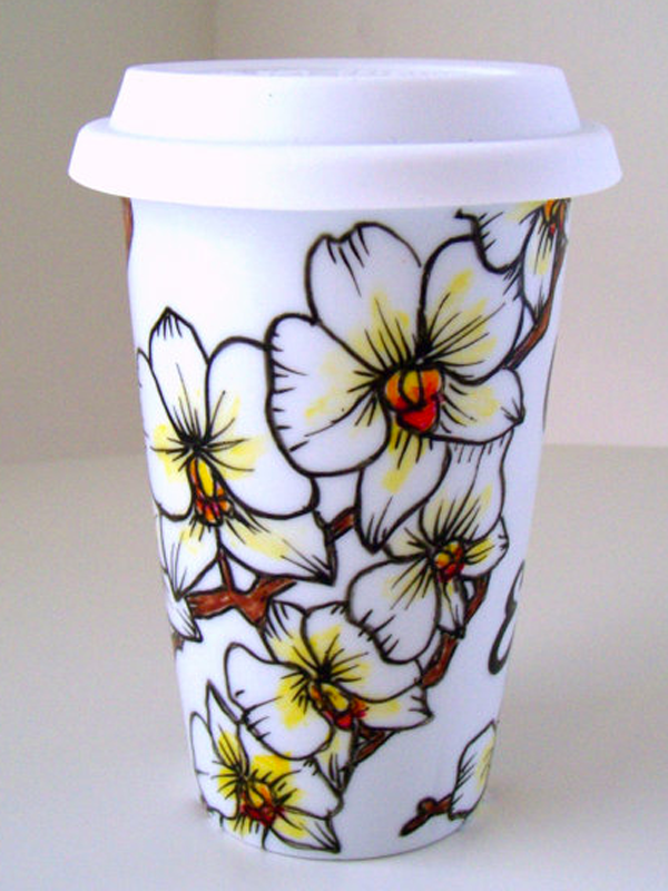 Handbemalter Kaffeebecher im Phalaenopsis-Look - Pflanzenfreude.de